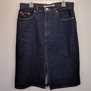 VTG Paris Blues Denim Pencil Skirt Split Front